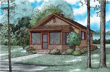 Front elevation of Cottage home (ThePlanCollection: House Plan #153-2042)