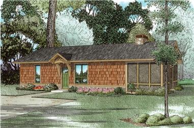 1-Bedroom, 828 Sq Ft Country House Plan - 153-2043 - Front Exterior