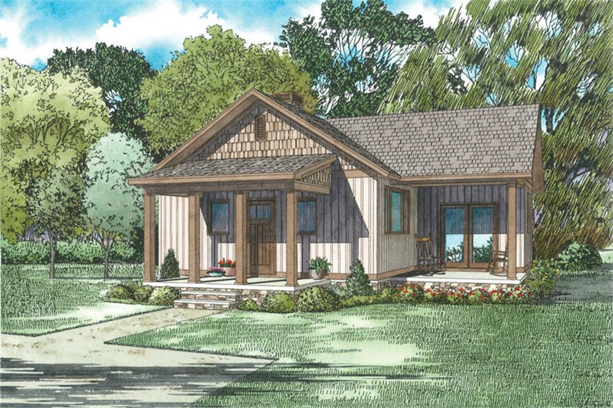 2-Bedroom, 859 Sq Ft Small House Plans - 153-2045 - Front Exterior