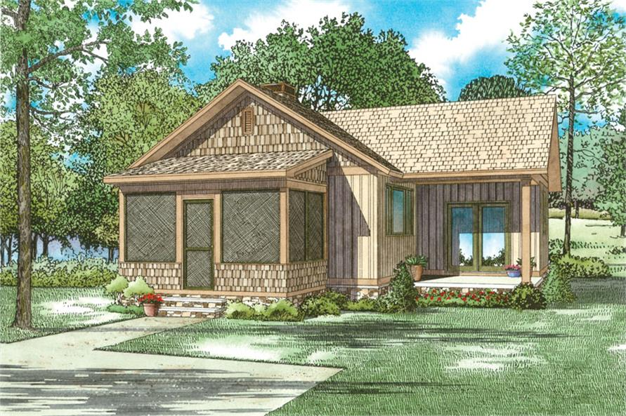 Front elevation of Cottage home (ThePlanCollection: House Plan #153-2046)