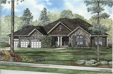Front elevation of Traditional home (ThePlanCollection: House Plan #153-2047)