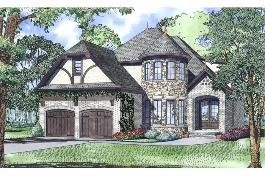 Front elevation of European home (ThePlanCollection: House Plan #153-2048)