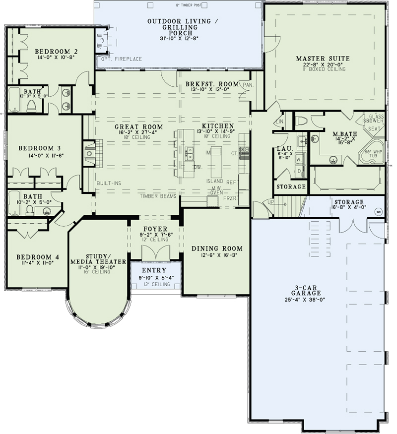 European house plan 153 2049 4 bedrm 3090 sq ft home for 12 by 12 room sq ft