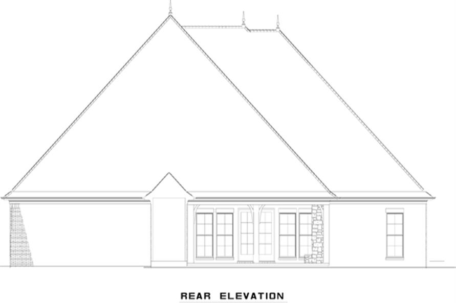 153-2049: Home Plan Rear Elevation