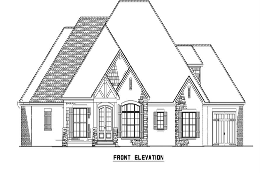 Home Plan Front Elevation of this 4-Bedroom,2470 Sq Ft Plan -153-2050