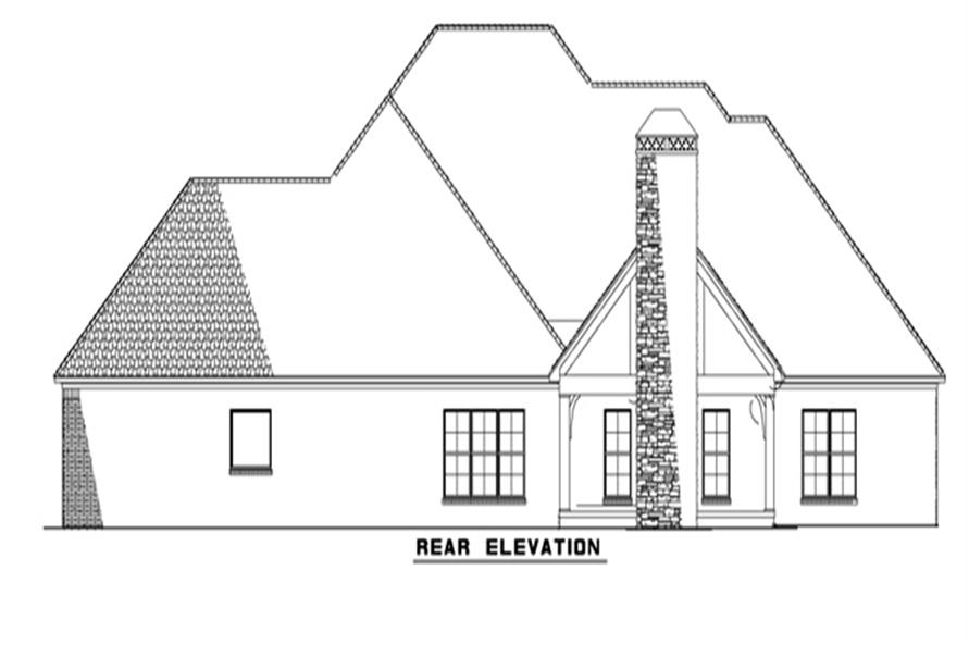153-2050: Home Plan Rear Elevation
