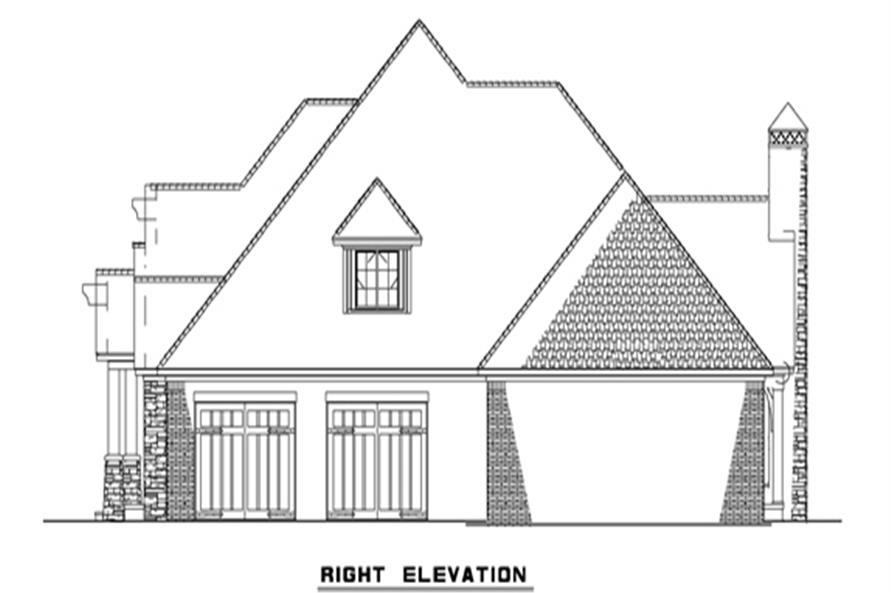 153-2050: Home Plan Right Elevation