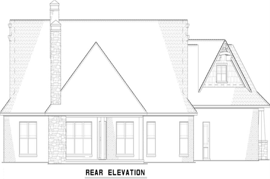 153-2051: Home Plan Rear Elevation