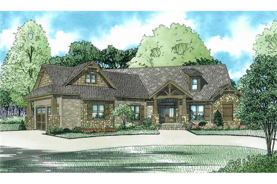 Front elevation of Craftsman home (ThePlanCollection: House Plan #153-2051)