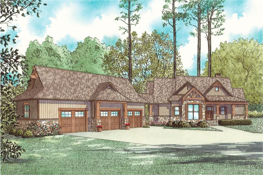 Front elevation of Country home (ThePlanCollection: House Plan #153-2053)