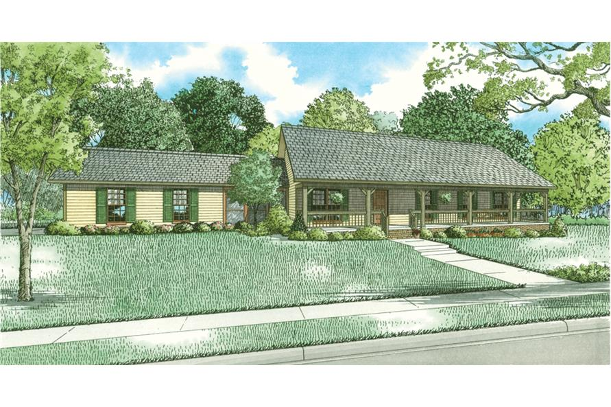 Front elevation of Country home (ThePlanCollection: House Plan #153-2054)