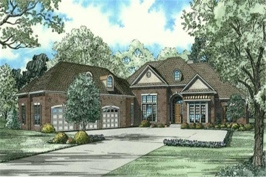 Front elevation of Luxury home (ThePlanCollection: House Plan #153-2063)