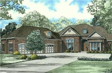 Color rendering of Luxury home plan (ThePlanCollection: House Plan #153-2063)