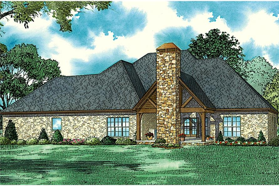 Home Plan Rear Elevation of this 4-Bedroom,2688 Sq Ft Plan -153-2064