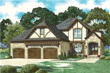 Front elevation of Craftsman home (ThePlanCollection: House Plan #153-2065)