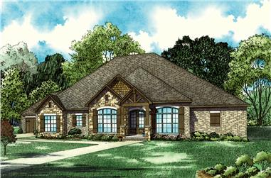 Front elevation of Southern home (ThePlanCollection: House Plan #153-2067)