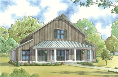 Front elevation of Country home (ThePlanCollection: House Plan #153-2071)