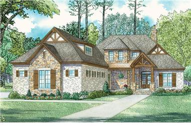 Front elevation of Craftsman home (ThePlanCollection: House Plan #153-2075)