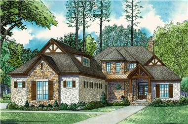 4-Bedroom, 3251 Sq Ft Country House Plan - 153-2077 - Front Exterior