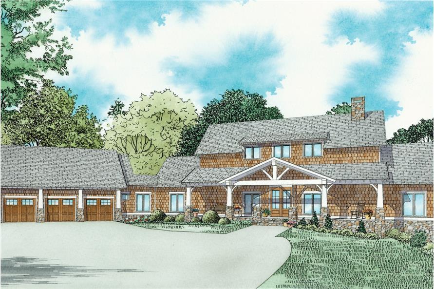 3-Bedroom, 3417 Sq Ft Craftsman House Plan - 153-2080 - Front Exterior