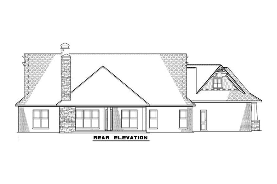 Home Plan Rear Elevation of this 3-Bedroom,2199 Sq Ft Plan -153-2083