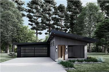 3-Bedroom, 1365 Sq Ft Contemporary House Plan - 153-2102 - Front Exterior