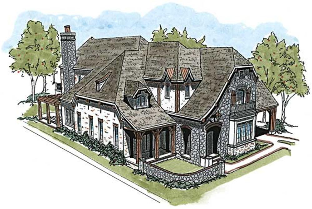 This is an artist's rendering for these French Country House Plans