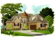 This image is an artist's rendering of the front elevation of these classy Tudor House Plans.