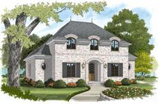This is the front elevation for these Colonial House Plans.