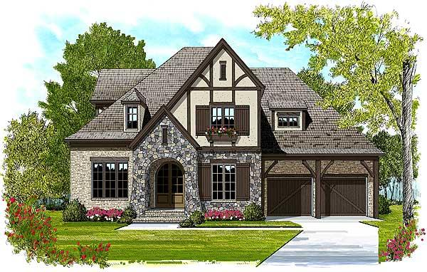 This is the front elevation that was drawn by an artist that will show what the front of this set of Tudor home plans looks like.