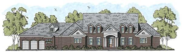 This is the front elevation for these Traditional Home Plans