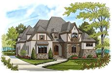 This is a colorful rendering of these Tudor Home Plans.