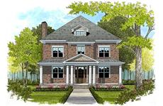 This is the front elevation of these Traditional Home Plans.