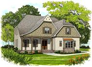 This is the front elevation for these Traditional Tudor Home Plans.
