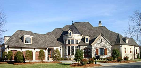 This is a color photo of these European house Plans.