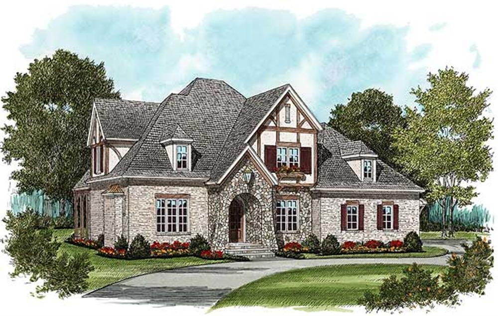 This is an artist's rendering of these European Tudor-Style House Plans.