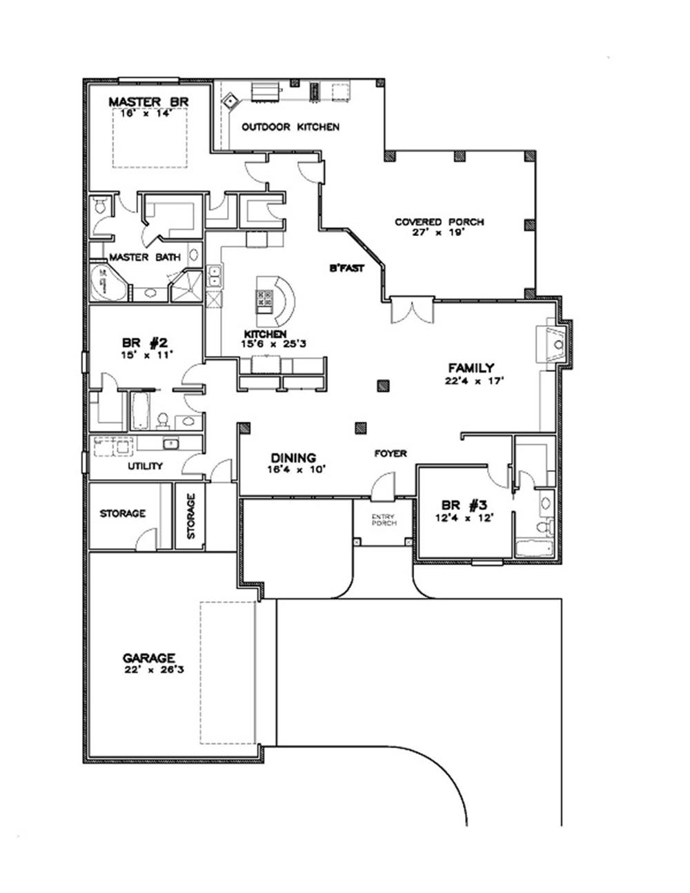 155-1001 house plan first floor