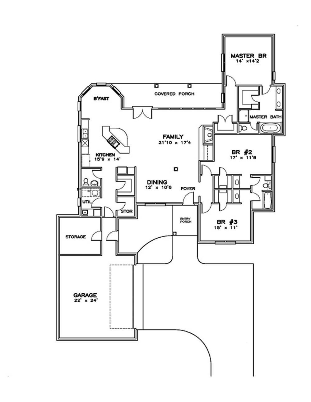 155-1004 house plan first floor