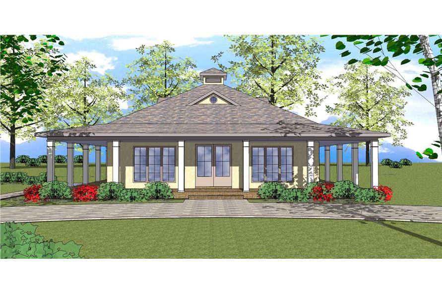 Front elevation of Southern home (ThePlanCollection: House Plan #155-1006)