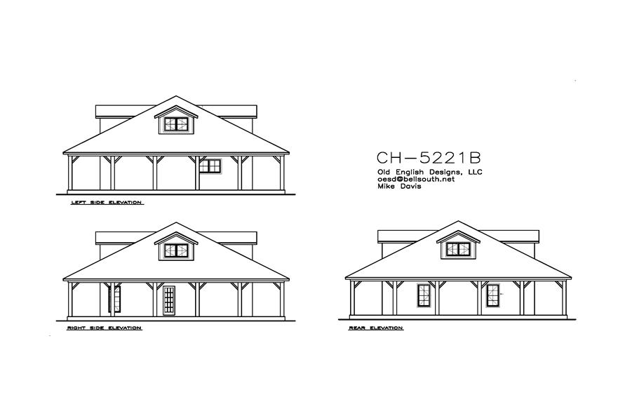 155-1008: Home Plan Rear Elevation