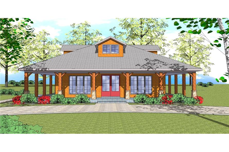 Front elevation of Southern home (ThePlanCollection: House Plan #155-1008)