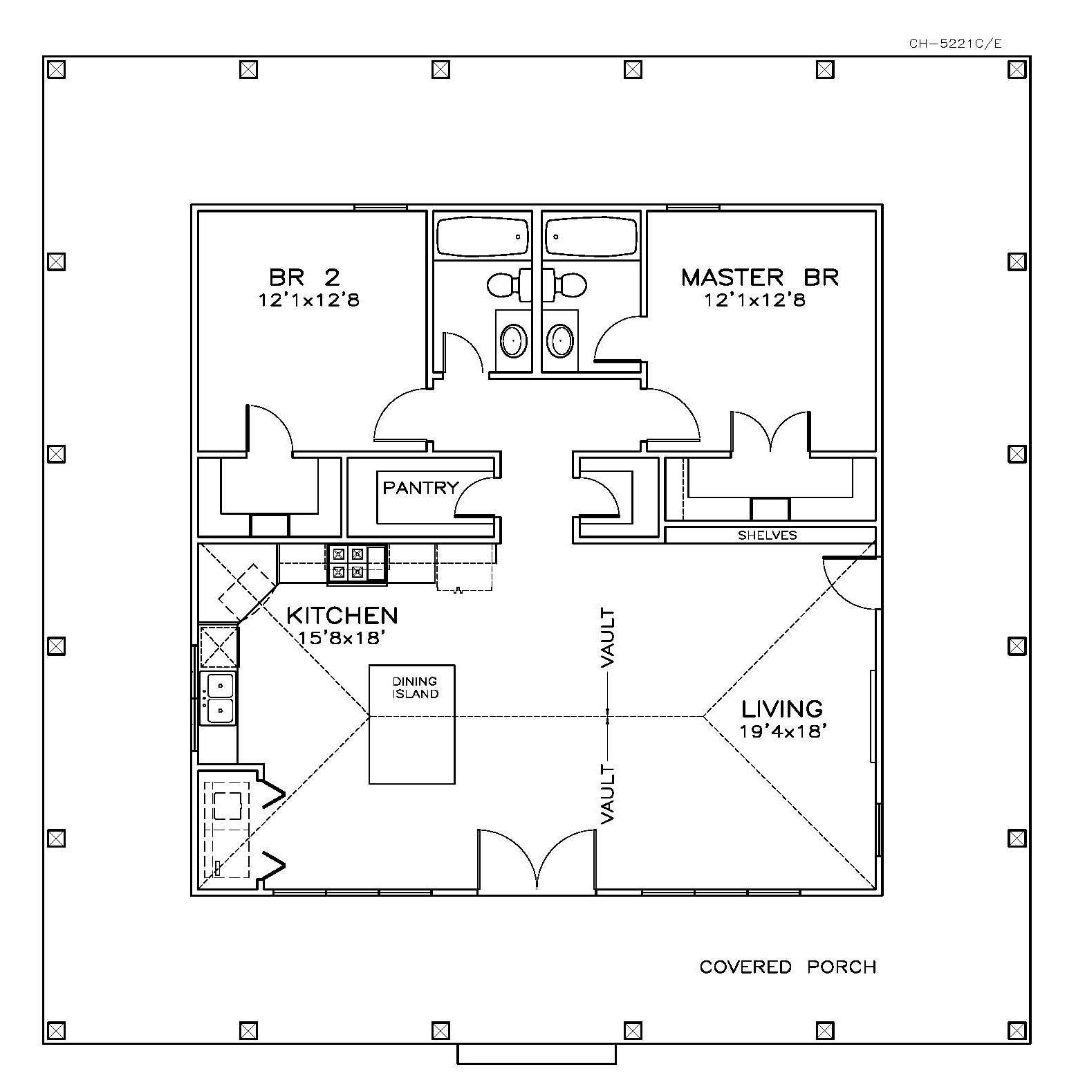 Southern Home Plan 2 Bedrms 2 Baths 1225 Sq Ft 155