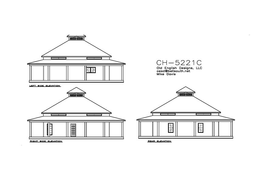 155-1009: Home Plan Rear Elevation