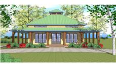 Front elevation of Southern home (ThePlanCollection: House Plan #155-1009)