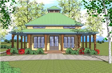 2-Bedroom, 1225 Sq Ft Southern House Plan - 155-1009 - Front Exterior
