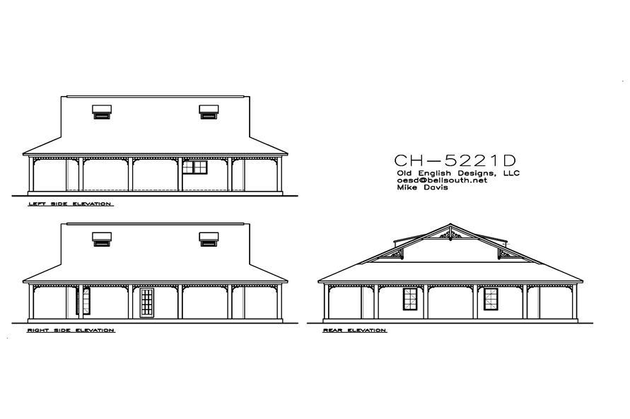 155-1010: Home Plan Rear Elevation