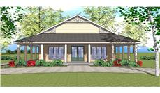 Front elevation of Southern home (ThePlanCollection: House Plan #155-1010)