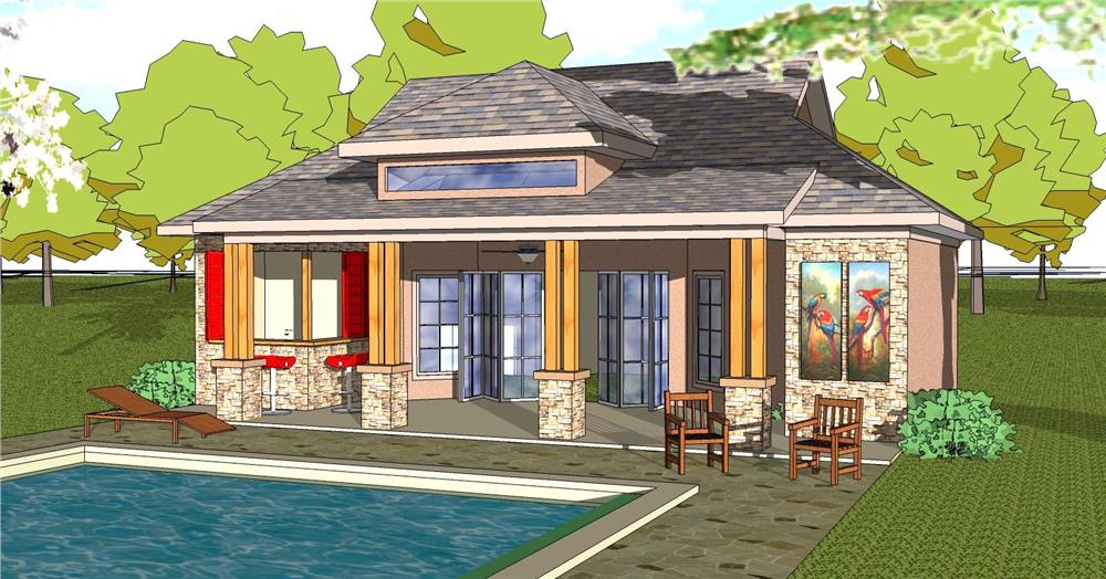Front elevation of Vacation Homes home (ThePlanCollection: House Plan #155-1012)