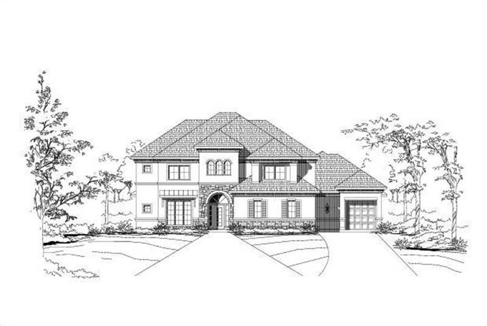 Front elevation of Mediterranean home (ThePlanCollection: House Plan #156-1034)