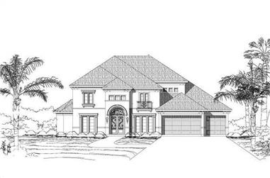 5-Bedroom, 4505 Sq Ft Mediterranean Home Plan - 156-1070 - Main Exterior